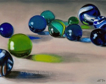 Marbles Still Life Painting Print, Still Life, Marbles, Home Decor, Fine Art, Giclee, Realism, Toy, Children, Pastel, Blue, 5 x 7