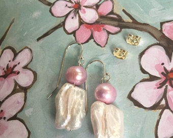 Bridal Baroque Freshwater Pearls,Soft Pink Natural Potato Pearls,STERLING SILVER French Earrings,Wedding Jewelry,Bridesmaids Earrings