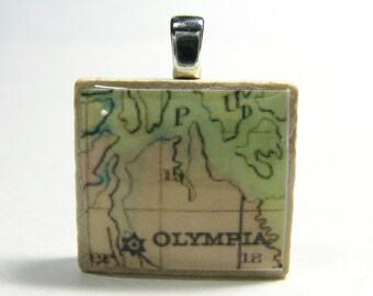 Olympia, Washington - 1874 vintage Scrabble tile map pendant