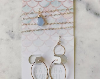 Periwinkle Chalcedony 14K Gold Filled Lariat Necklace with Matching Earrings