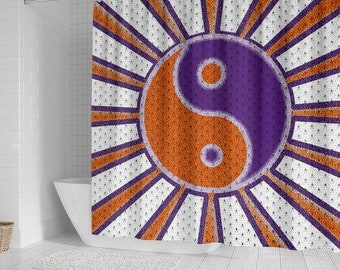 Clemson/Tigers/Ying Yang/Shower Curtain/Bathroom/Accessory/Bath/