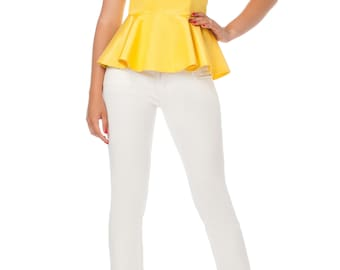 Yellow blouse  Blouse with basque Designer blouse Stylish blouse Fashionable blouse Original blouse Exclusive blouse Evening blouse