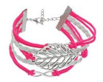 In leaf and infinity symbol-17 cm long - cord braid Friendship Bracelet