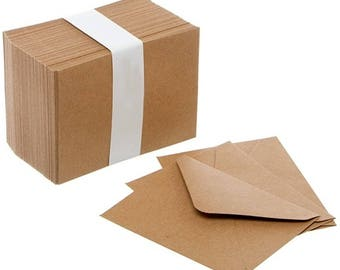 Mini Envelopes Small Kraft Brown 85mm x 110mm Wedding RSVP Cards Stationery Supplies