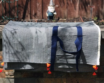 Picnic Blanket Cotton Denim  Stripe With Pocket, Silver Metal D-Rings, Neon Orange Tassels Celebrate Brooklyn Wedding Gift Beach Throw