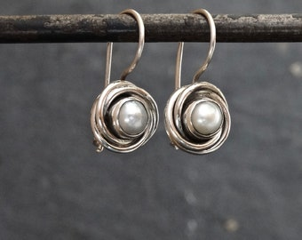 Pearl Earrings, Silver and White Pearl Drop Earrings, Freshwater Pearl, Silver Nest Earrings, June Birthstone, Art Deco, Sterling Silver 925