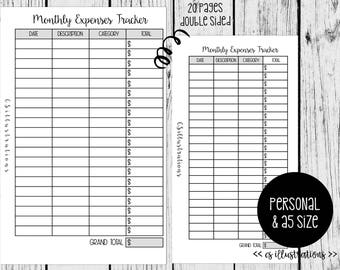 A5 and Personal Size Planner Insert: Monthly Expenses Tracker | Kikki K, Filofax WebstersPages