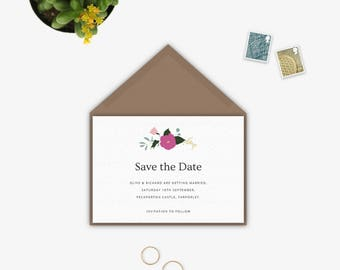 Unique Save The Date Ideas | Rustic Save The Dates | Whimsical | Floral Save The Date | Autumn Blossom Collection