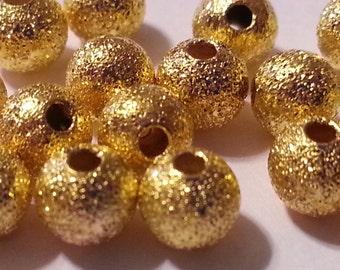 5mm  Golden Stardust Copper Ball Beads - 20 pieces