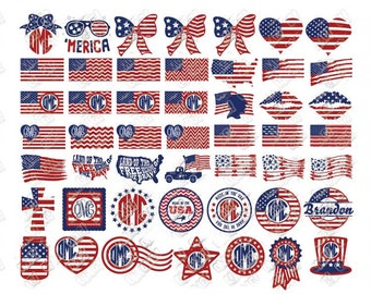 American Flag SVG Bundle Patriotic 4th Fourth of July svg dxf eps jpeg png format layered cutting files clipart die cut cricut silhouette