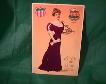 Vintage 1910's State Of Ohio Seal Postcard w/Lady In Red Silk Dress by Langsdorf used