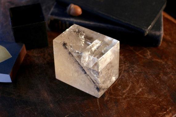 XL Premium Honey & Clear Optical Calcite Chunk 470g, Golden Calcite Rhomboid, Large Optical Calcite, Yellow Iceland Spar, Viking Sun Stone