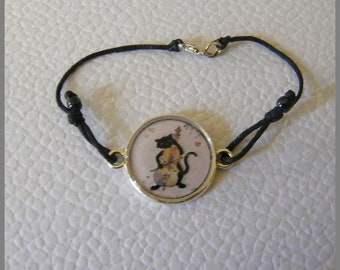 """Cat musician"" - resin Cabochon and silver bracelet"