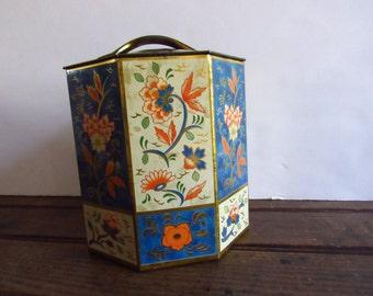 Vintage Floral Tin, Metal Decorative Tin, Lidded Tin, Vintage Storage Container, Kitchen Collectible, Blue and Gold Floral Tin
