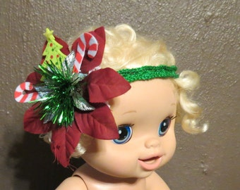 Baby Ugly Christmas Sweater Party Head Band Fun Unique Perfect Accessory Candy Canes Baby Christmas Headband, Baby Headband Photo Prop HB4