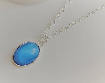 Blue Glass Moonstone Necklace, Blue Oval  Glass Moonstone Pendant, Silver Moonstone Necklace, Silver Necklace