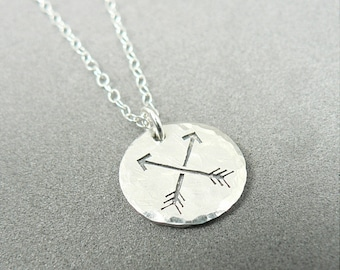 Crossed Arrows Sterling Silver Hammered Charm Necklace Friendship Two Arrows Textured PendantArcher Archery Jewelry
