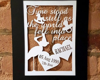 PERSONAL & COMMERCIAL USE Papercut Template, Customised for New Baby Arrival