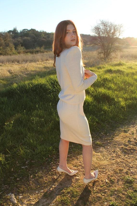 STARDUST 1970's Sweater Dress Rhinestone Neckline St John by Marie Gray Size 4