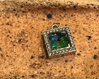Immitation Diamond Locket with embedded Lake Michigan Beach Glass