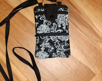Over the shoulder Black and white cell phone wallet