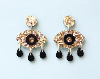 Eyes on You Earrings in Gold Glitter and Black