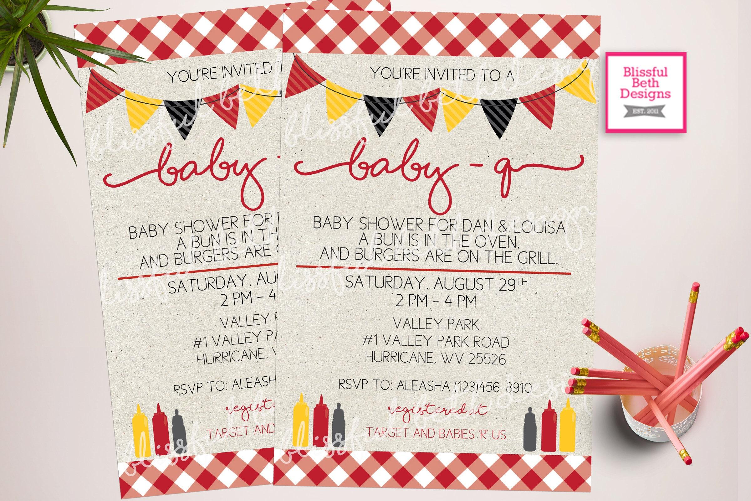 BABY-Q Shower Invitation, Baby bbq shower, bbq shower, backyard bbq ...
