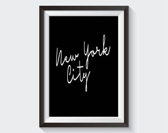 New York City Minimalist Printable Wall Art Instant Digital Download Black and White New York City Posters Big City Home Decor