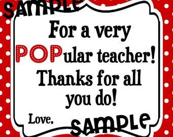 Instant Download. Popular Teacher. Popcorn Tag. Pop Tag.  Printabe Tag. Teacher Appreciation. End of school year. Teacher gift