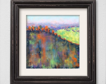 "Original Pastel Painting ""Abstract Autumn Landscape"""