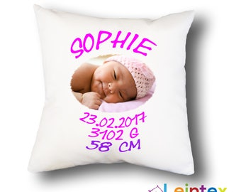 Cushion cover 40 x 40 name cushions birth baby No78