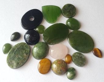 Jade, rose quartz, unakite, onyx and tiger's eye assortment