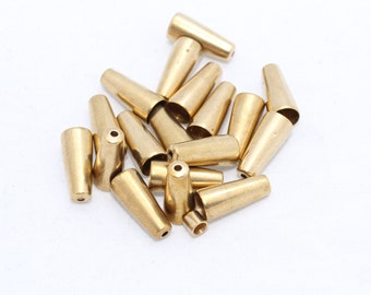 25 Pcs Raw Brass End Cap Findings, Cone (7x15mm) - Raw Brass End cap  NED3