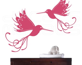 Wall decals WHIMSICAL BIRDS Vinyl art graphics interior decor by Decals Murals