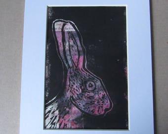 Pink Hare Linocut Print - Original Art
