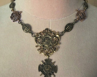 Royal Ascension Crown Emblem Necklace (antique gold tone)