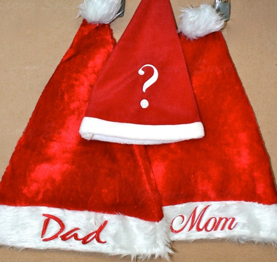 Set of 3 Adult plush red Christmas Santa Hat. You decide the saying / name / customization. Embroidery. Monogram. Customize. Personalize!!