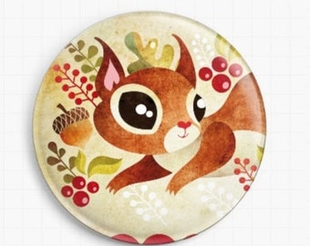 Needle Minder - Licensed Art By Sandra Vargas - Squirrel - Cross Stitch Keeper - Fridge Magnet