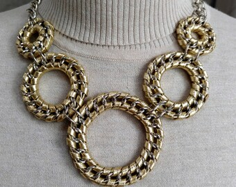 Gold Metallic Vegan Mylar Woven Chain Link Necklace