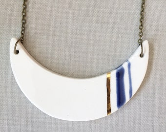Céramique moderne minimaliste & 22kt or pendentif, pendentif en céramique, bijoux en céramique moderne, minime bijoux, collier