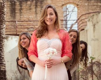 Bridesmaid shrugs- Set of 6 Versatile Lace Wraps, Bridesmaids Cover Ups, Bridal party Gift, Wedding Boleros, Bridesmaids Shawls, Bridal Wrap