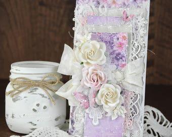 Shabby Chic Vintage Feminine Violet Birthday Roses Greeting Card