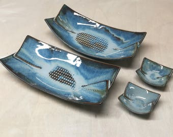 BLUE Sushi plate and bowl