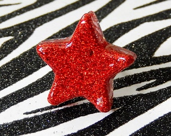 Red Glitter Star Ring, Celestial Jewelry, Adjustable