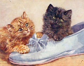 Digital download instant*CATS kittens,cat,blue shoe.Darling. Greeting cards, collage,decoupage,sewing,sachets,pillows,frame