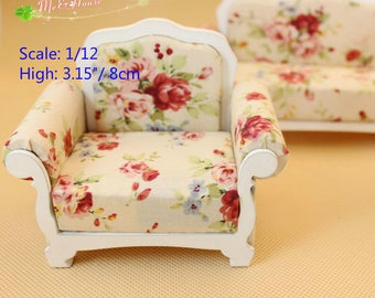1/12 scale Dollhouse Miniatures Living Room Furniture Single Sofa /1 pc