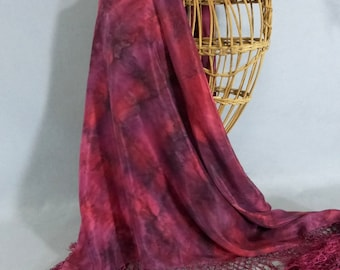 """Hand Painted Silk Fringed Shawl/Scarf """"Soft Red Blend"""""""