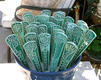 Six Ceramic Garden Markers,  Handmade Herb and Vegetable Markers