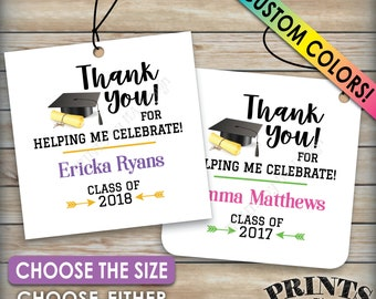 "Graduation Tags, Graduation Party Favors Thank You Tags, Grad Tags, Graduation Party Favors, Class Of 2018, PRINTABLE Tags on 8.5x11"" Sheet"