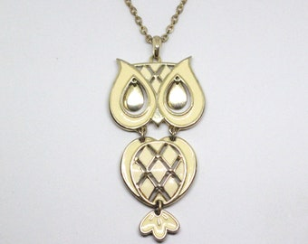 1970's VINTAGE Gold and Enamel Articulated Owl Statement Necklace